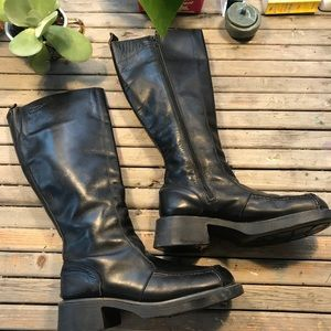 Dr Martens 9914 Chunky black leather tall boots 6